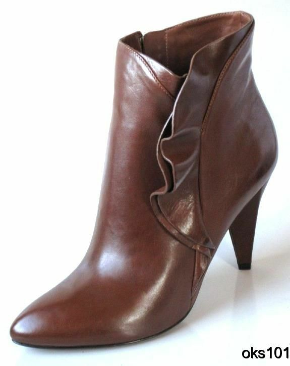 New  590 MARC JACOBS brown pelle ruffled side Scarpe ANKLE BOOTS