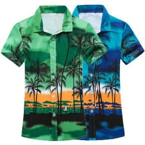 Summer-Mens-Floral-Print-Hawaiin-Beach-Surf-Board-Casual-Shirts-Tops-T-shirt-UK