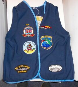 VINTAGE-U-S-NAVY-SUBMARINE-VETERAN-VEST-WITH-PATCHES-USS-CORSAIR-amp-GROUPER-LOOK