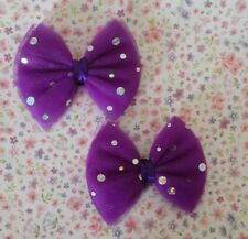 NEW PAIR SPARKLE NET TULLE TUTU BOW SHOE CLIPS VINTAGE STYLE GLAMOUR PARTY BOWS