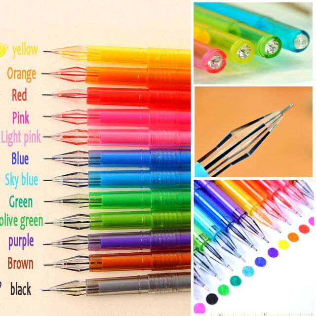 12Pcs Candy Color Diamond Gel Pen School Supplies Draw Colored Pens Student Gift