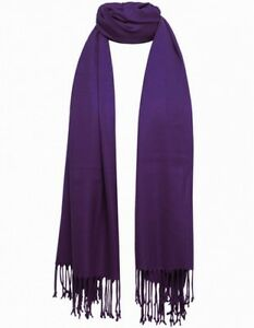 Purple-Pashmina-Scarf-100-Viscose-Plain-Wrap-Shawl-Stole-Scarf