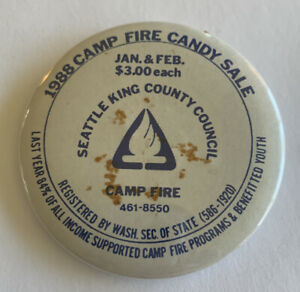 Vintage-1988-Camp-Fire-Candy-Sale-Seattle-King-County-Council-Pinback-Button