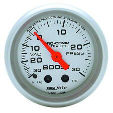 Auto Meter 4303 Ultra Lite Vacuum Boost Mechanical Gauge 2 1/16 30 In.Hg/ 30 Psi