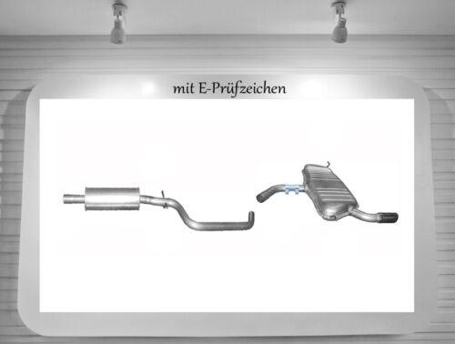 Auspuffanlage Audi A3 1.6 3-Tür Auspuff Endtopf Mitteltopf