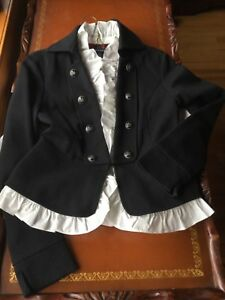 Edwardian Ruffle Buttons Xs Boston m Jacket Korrekt Peplum Military Sort Elfenben s qSxfU