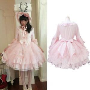 Vintage Dames Palace Meisjes Lolita Jurk Rokje Roze Prinses Sweet Cosplay Tl1JcKF