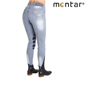 Montar Ellie Ladies Silicone Knee Patch Grey Denim Breeches SALE FREE UK S
