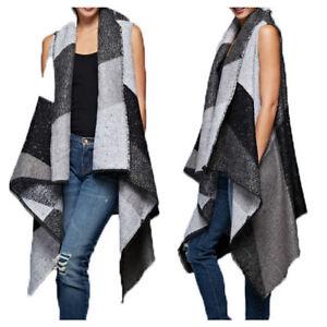 Women Shawl Collar Sleeveless Vest Hi Low Asymmetrical Hem Woven Coat Outerwear