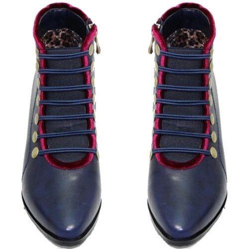 Glc606 napoleon leather low thick heel zip military boots