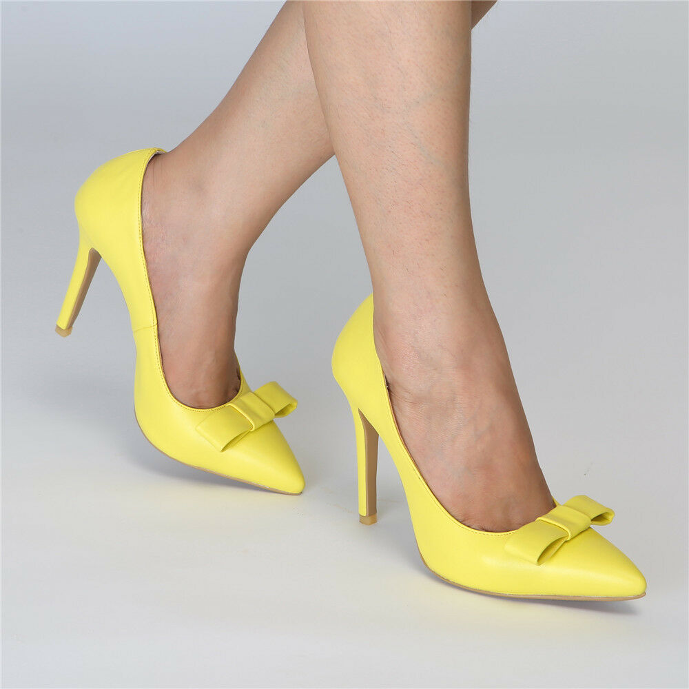 Femmes Bowknot Slim talons hauts Pointed Toe Pumps Party Casual Candy Couleur chaussures