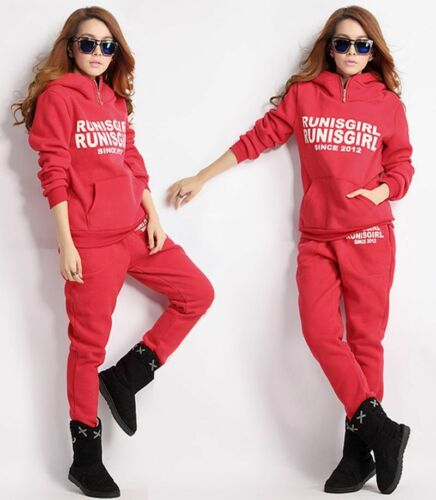 Damen 3teilig Trainingsanzug Kapuze Pullover Weste Hose Fitness Mode Hoodie DW09
