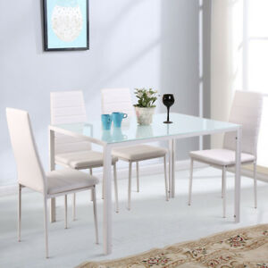 Brilliant Details About White Glass Dining Table Set With 4 Faux Leather Chairs Metal Legs Kitchen Room Download Free Architecture Designs Scobabritishbridgeorg