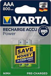 2x Varta 56703 Lithium Ion Battery Ni - MH Micro AAA 800 MAH 1000x Rechargeable