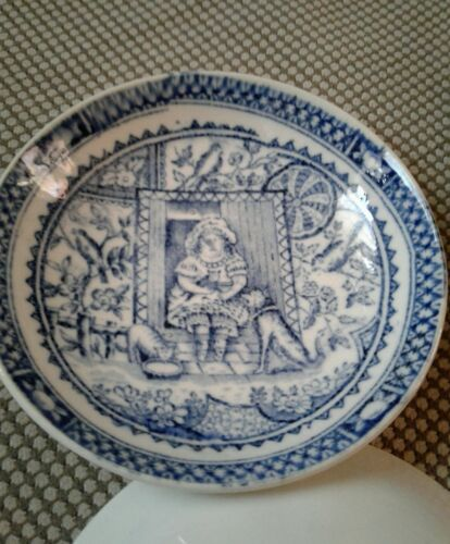 Antique Child/'s Plate or bowl Aesthetic Little May Transferware C.A /& Sons dog