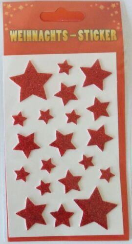 2 Bögen Weihnachts Glitter-Sticker 8654