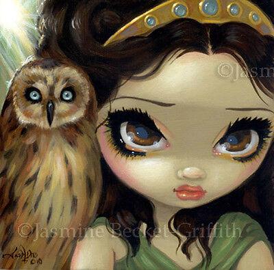 Fairy Face 127 Jasmine Becket-Griffith Fantasy Owl Maiden SIGNED 6x6 PRINT