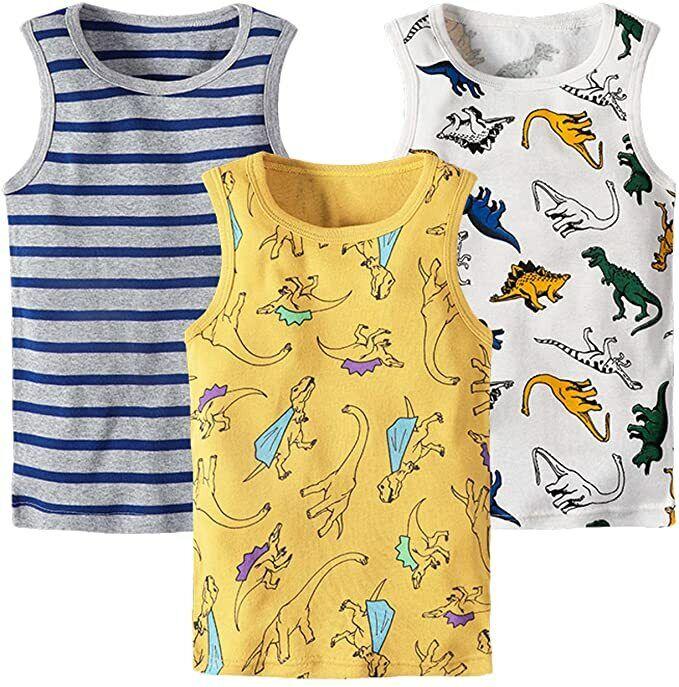 3-Pack Kids Toddler Boys/' Dinosaur 100/% Cotton Undershirt Tank Tops Shirt 12M-6Y
