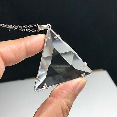 Clear Natural Quartz Crystal Star of David Pendant Silver Healing 27g
