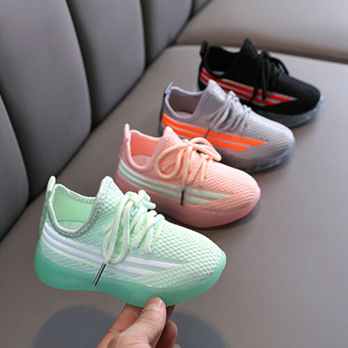 Children Sports Kids Shoes Boys Girls LED Running Sneakers Athletic Mesh Shoes