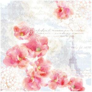 4 Serviettes En Papier Napkins Découpage Collage 33 Cm Paris Fleur Rose F 510 Vente De Fin D'AnnéE