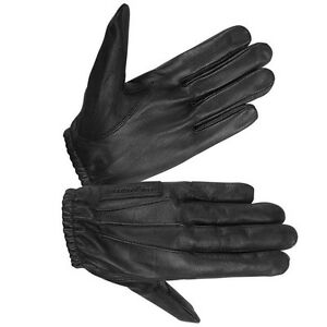 Hugger-Men-039-s-Unlined-Water-Resistant-Leather-Police-Style-Search-Driving-Gloves