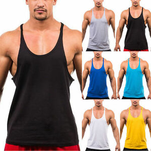 Mens-Stringer-Bodybuilding-Tank-Top-Solid-Gym-Singlet-Y-Back-Muscle-Racer-back