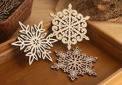 Lge 12cm Wood Snowflake Star Coaster | Heat Mat | Decoration