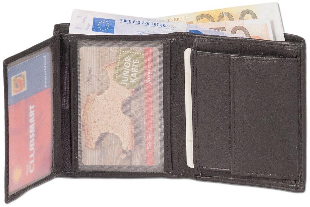 + Kleine GELDBÖRSE mit Geldscheinfach u. Kreditkartenfächern Kalbsleder Schwarz