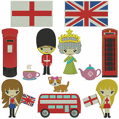 * ENGLAND 1 * Machine Embroidery Patterns * 12 designs in 2 sizes