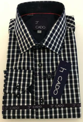 Men/'s Cado Fine Cotton Blue Gingham plaid Modern Fit Button Down Dress Shirt