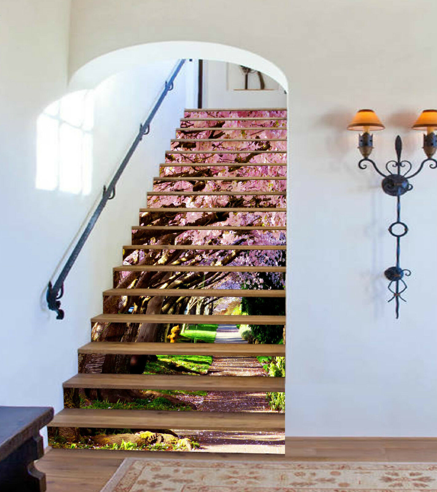 3D Kirsche Avenue 5 Stair Risers Dekoration Fototapete Vinyl Aufkleber Tapete DE