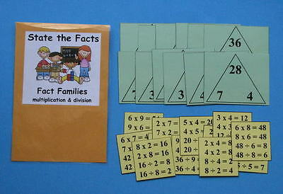 Teacher Made Math Center Resource Game Fact Families Multiplication & Division