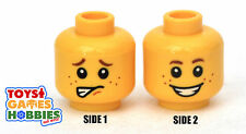 *NEW* LEGO Minifigure Minifig Head- Yellow Boy Child Kid Freckles Smile #1738