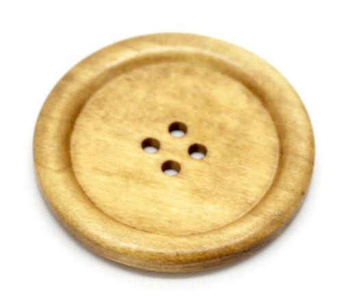 Großverkauf Hellkaffeebraun 4 Löcher Groß Knopf//Holzknöpfe Wood Buttons 5cm
