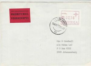republic of south africa 1987 atm stamps cover ref 19192