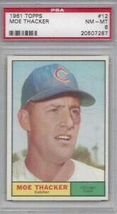 1961-Topps-baseball-card-12-Moe-Thacker-Chicago-Cubs-PSA-8-NMMT-high-end