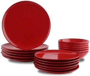 Vaisselle-de-Gres-pour-6-Personnes-Couleur-Rouge-Intense-18-Pieces