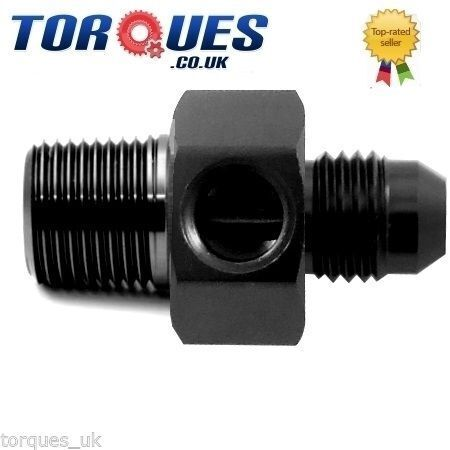 """AN3 3AN To M10x1.0 With a 1//8/"""" NPT Side Port Gauge Adapter In Black AN 3"""
