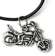 Kette Anhänger MOTORRAD Lederband schwarz 45 cm Halsschmuck BIKER Damen Herren