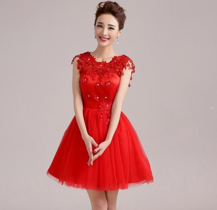 4 color Women Floral Evening Formal Ball Gown Prom Bridal Short Mini Dress @BT02