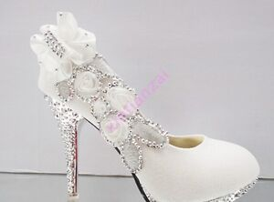 01 New Womens High Bling Heel Wedding Bridal Pump Round Toe Shoes Pumps Floral