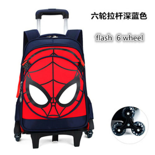 Child Primary Student Backpack Detachable Trolley Book Bag Spider-man Satchel