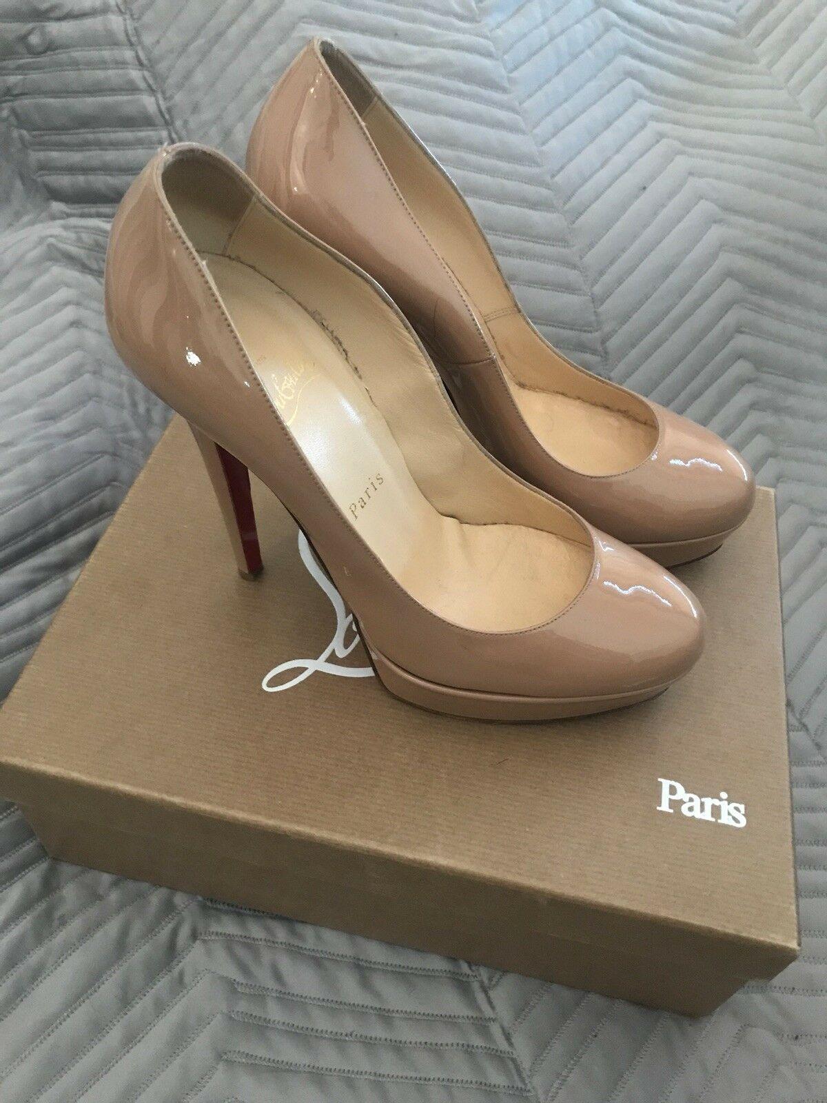 Christian Louboutin - Simple Pump - Nude Patent Leather Leather Leather - Size 38 - Used 1408cb