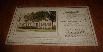 100% Quality 1930 Dec. Calendar Hang Essex Development Co. Ojibway On Canada Home Floor Plans