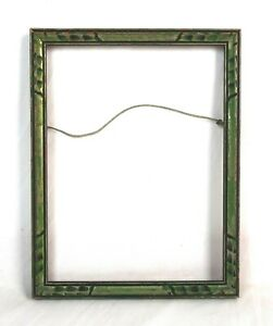 Antique-Art-Nouveau-Ornate-Green-Gesso-Photo-Picture-Frame-Fits-8-034-x-6-034