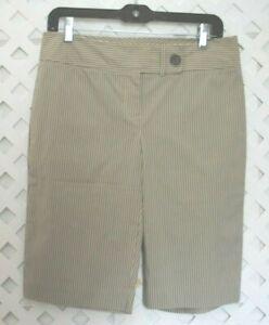 YANSI FUGEL Woman's 14 Bermuda Shorts Beige Tan Stripe Stretch Cotton Blend  NWT