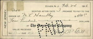 1916 DOVER New Jersey (NJ) THE DOVER TRUST COMPANY PROM[SORY NOTE M. L. HAMLLEY