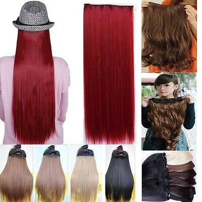 Long curly 3/4 full head Clip in Hair Extensions Real Synthetic Natural human B2