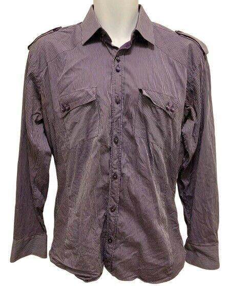 Absolute Rebellion Mens Size M Slim Fit Long Sleeve Shirt Purple Striped